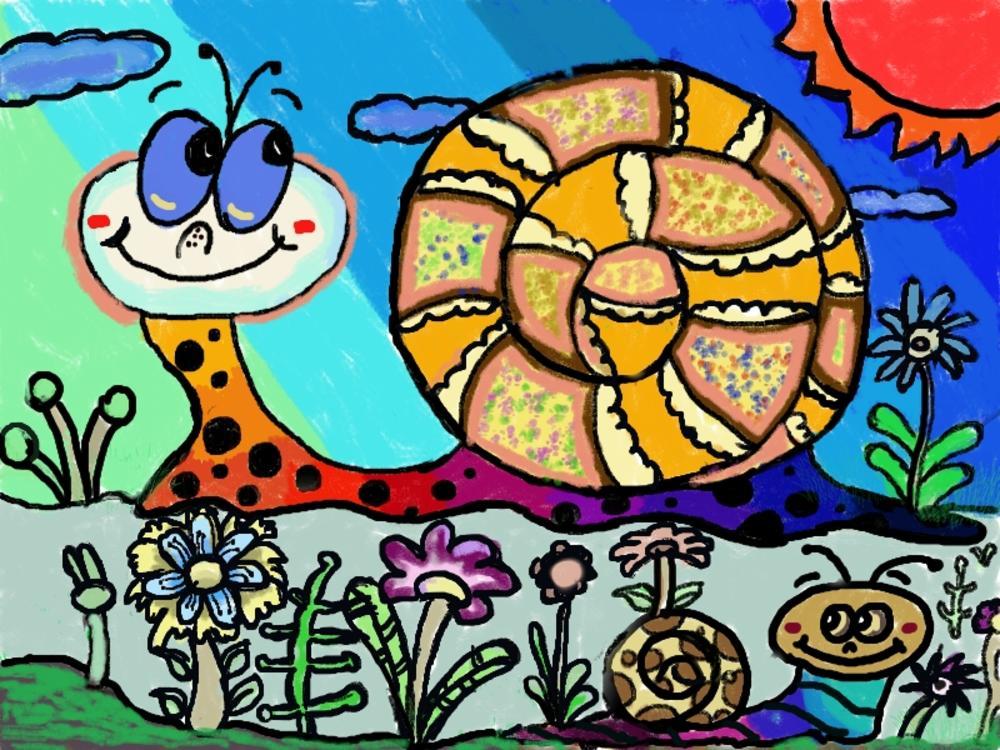 蜗牛画法儿童画图片