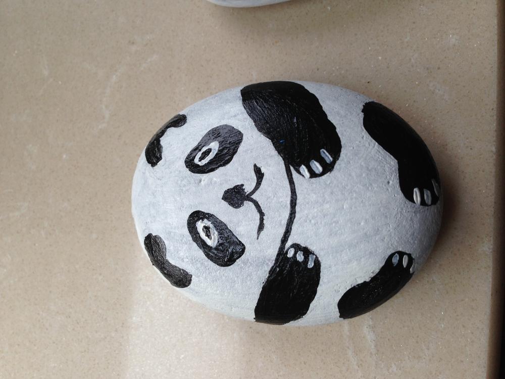 石头画 熊猫
