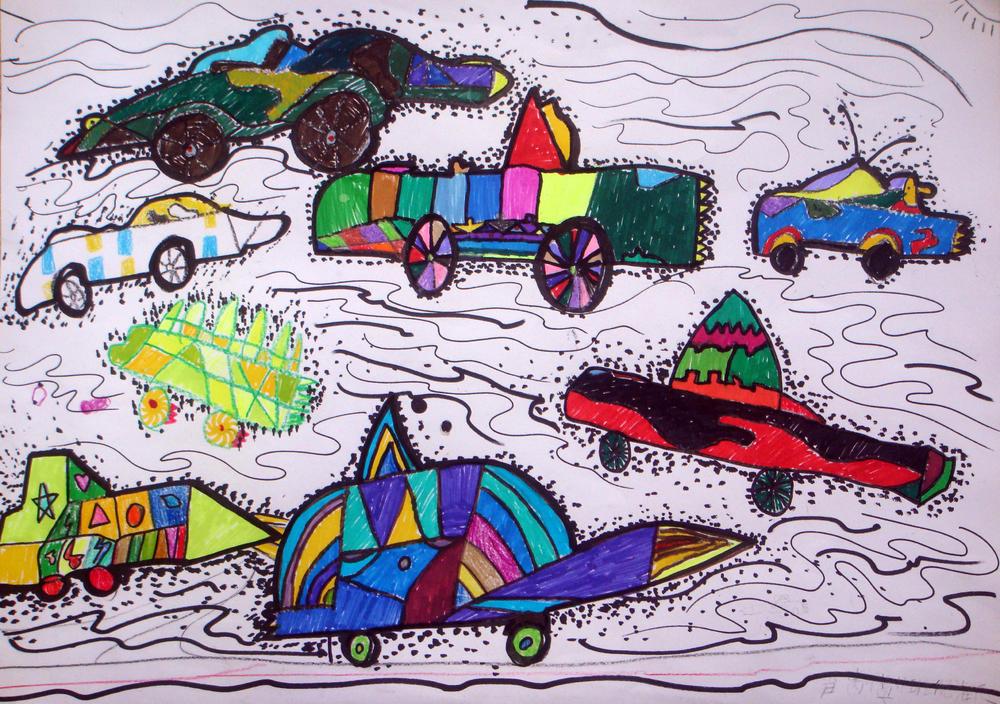 儿童画《未来的汽车》